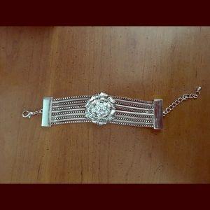 Silver rhinestone flower bracelet